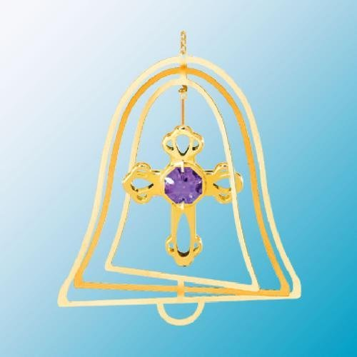 24K Gold Plated Hanging Sun Catcher or Ornament..... Cross with Purple Swarovski Austrian Crystals in a Bell