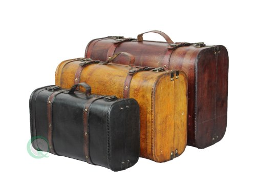 Vintiquewise(TM) 3-Colored Vintage Style Luggage Suitcase/Trunk, Set of 3 1