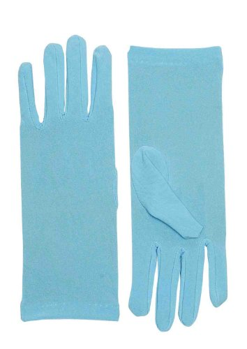 Short Light Blue Adult Female Costume Dress Gloves
