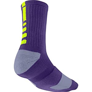 Nike Elite Basketball Crew Sock (COURT PURPLE/VOLT//VOLT, Small)