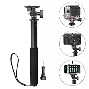 Mudder 3-way Pro Telescopic Handheld Monopod Extendable Self-portrait Pole Events/ Sports/ Selfie Stick + Upgraded Smartphone Holder Mount for Compact System Cameras, Point& Shoot Cameras, GoPro HD Hero4 Hero3+ Hero3 Hero2 Hero Sport Cameras, Sony HDR-AS15 HDR-AS30V HDR-AS100V Action Cam, iPhone 6 5S 5 4S 4 iPod, Samsung, LG, Motorola, HTC, Sony, Nokia... Cell Phones