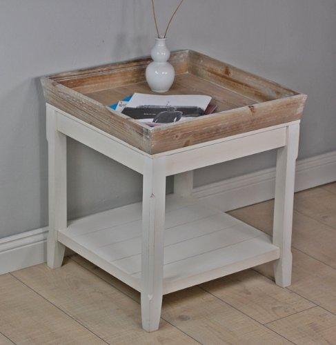 couchtisch tisch beistelltisch wei braun landhaus. Black Bedroom Furniture Sets. Home Design Ideas