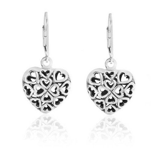 Bling Jewelry 925 Silver Filigree Cutout Puffed Heart Leverback Earrings