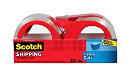 Scotch Heavy Duty Shipping Packaging Tape with Refillable Dispensers, 1.88 in x 54.6 yd, 2 Pack (3850-2RD)