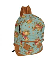 Generic Women Girls Floral Canvas School Book Satchel Travelling Backpacks Rucksack (Blue)