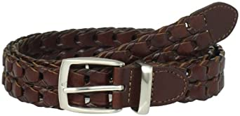 Haggar Men's Adjustable Link Braid With Metal Loop And Harness Buckle, Tan, 32