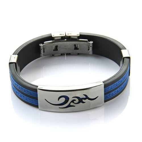 sodialr-pulsera-brazalete-acero-inoxidable-silicona-para-hombre-azul