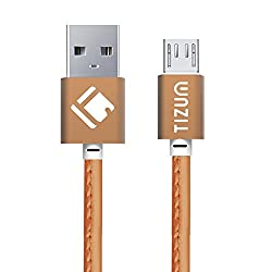 Faux Leather Micro-USB to USB Cable (1.2 meter/ 4 Feet) Fast Charging - 2.4Amp & Sync Data Cable (Brown)