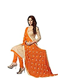 The Fashion Outlets Jute Silk Solid Unstitched Dress Material with Embroidered Dupatta(Beige)