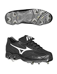 Mizuno Men's 9-Spike Vintage Low Baseball Cleats (Black/White)