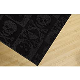 Garland Pirate Skulls and Crossbones Rug, Black, 4\'x6\'