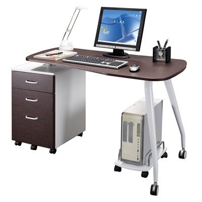 Buy Low Price Comfortable Mad Tech 30×23.5×51.5 Chocolate& Wht Mdf Panel & Steel Frame Computer Office Desk Table (B004W0MJ1M)