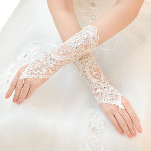 Edith qi White Bridal Lace Rhinestone Fingerless Gloves for Wedding Party