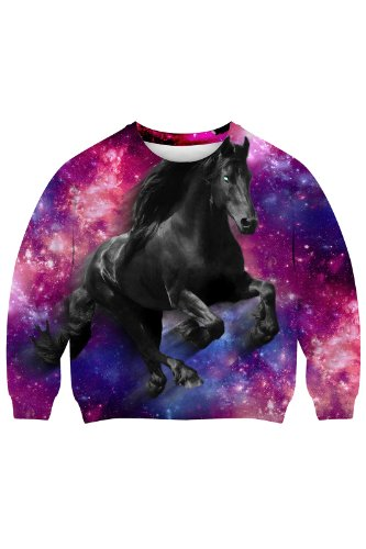 Romwe Women'S The Black Horse Running Under Galaxy Sky Design Polyester Sweatshirt-Colorful-S front-747566