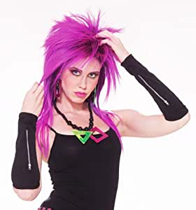 Black Zipper Wrist Band Gloves Punk Gothic Rocker Biker Emo Fancy Dress