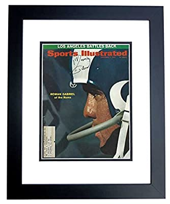 Roman Gabriel Autographed - Hand Signed Los Angeles Rams 1970 Original Sports Illustrated Cover BLACK CUSTOM FRAME