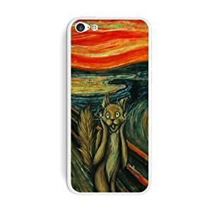 Graphics and More The Screaming Cat - Edvard Munch Painting Parody Funny Protective Skin Sticker Case for Apple iPhone 5C - Set of 2 - Non-Retail Packaging - Opaque