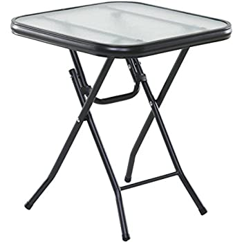 """OneSpace Basics 16"""" Square Folding Side Table, Clear"""