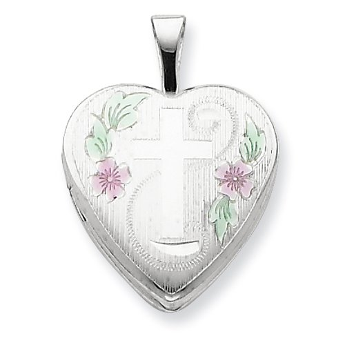 Sterling Silver 16mm D/C & Enameled Cross & Flowers Heart Locket Real Goldia Designer Perfect Jewelry Gift for Christmas
