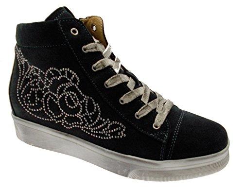 art C3650 lacci training camoscio antracite cerniera sneaker scarpa donna 39 grigio