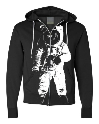 Space Astronaut Man On The Moon White Print Zip-Up Hoodie By Dsc - Black 3X-Large front-399010