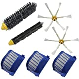 TOP-MALL Replenishment Kit for iRobot Roomba 600 Series-Include A Set Of 3 Aero Vac Filters & 2 6-Armed Side Brushes & 1 Bristle Brushes & 1 Flexible Beater Brushes