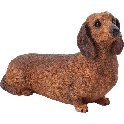 Sandicast Mid Size Smooth Red Dachshund Sculpture, Sitting