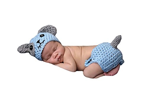 [CX-Queen Baby Photography Prop Crochet Knit Blue Puppy Dog Hat Diaper] (Puppy Dog Baby Costume)