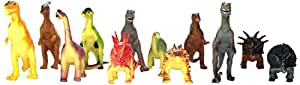 """Rhode Island Novelty Assorted Jumbo Dinosaurs Up to 6"""" Long Toy Figures, 12-Pack"""