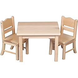 Guidecraft Doll Table And 2 Chairs Set, Natural