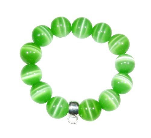 Hidden Gems (TSB41) Green Cats Eye Chunky Stretch Bracelet