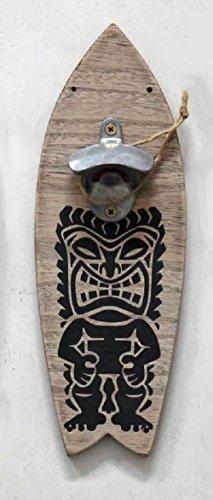 Wood Surfboard with Bottle Opener | Festive Tiki God Design | 13