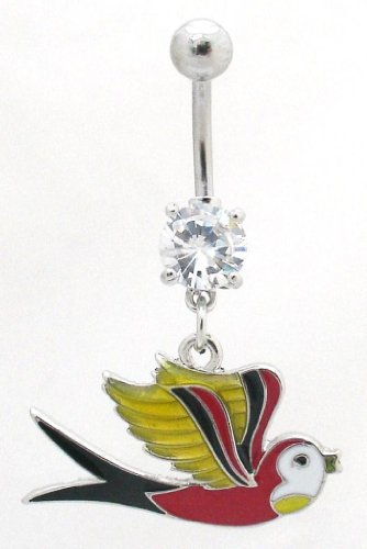 Pierced & Modified - Body Jewellery Belly Bars - Tattoo Design Dangle Navel Bar - Old School Swallow