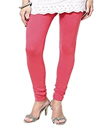 VAG Sales Women's Cotton Leggings (VAG_Pink-L_Pink_Large)