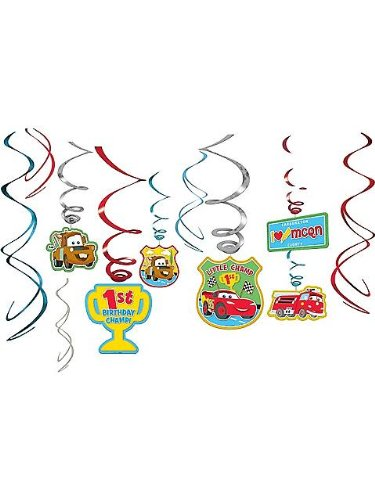 Disney 1st Birthday Cars Hanging Swirl Decorations