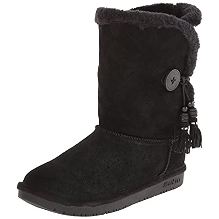"This cozy boot has the comfort of Memory Foam to keep you comfortable on any frosty daySuede leather upper with faux fur trimEasy pull-on styling with button side closureMemory Foam padded footbed forms to the shape of your footRubber-like sole1"" hee..."