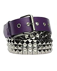 NYfashion101 (TM) Women's Trendy Pyramid Stud Design Faux Leather Belt w/ Roller Buckle BT-119S-Purple/Silver-S