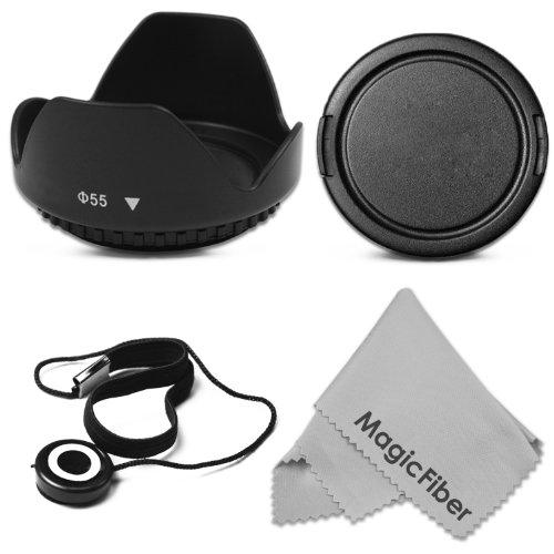 55Mm Tulip Flower Lens Hood + Snap-On Lens Cap + Cap Keeper Leash + Magicfiber Microfiber Lens Cleaning Cloth