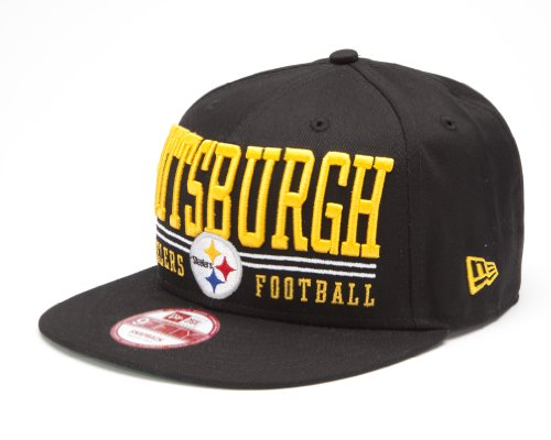 NFL Unisex Adult Pittsburgh Steelers Lateral Snapback Cap (Black, One Size Fits All)