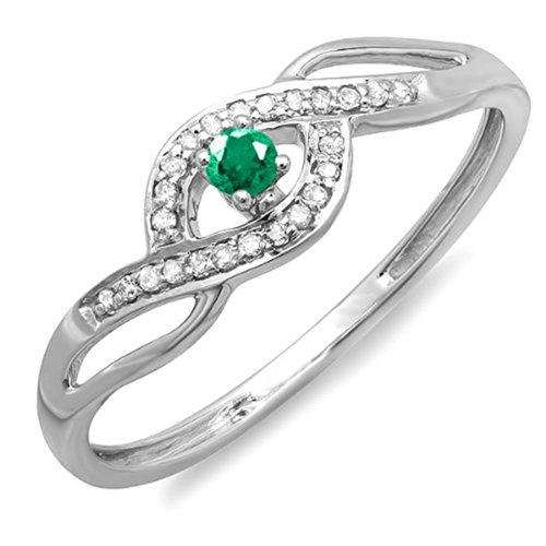 0.15 Carat (Ctw) 18K White Gold Round Cut Green Emerald & White Diamond Bridal Promise Ring (Size 5.5)