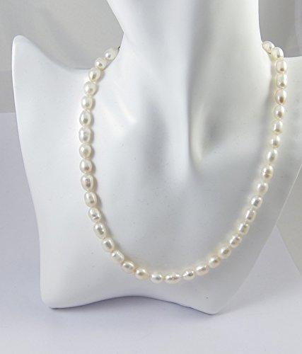 """Collana Perle coltivate acqua dolce collana """"bianco"""" ZC-1001"""