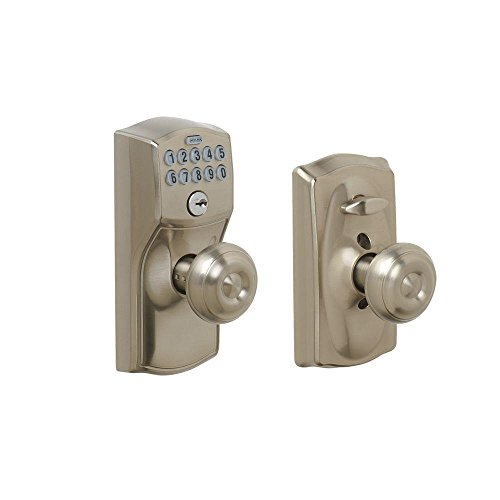 Schlage FE595 CAM 619 GEO Camelot Keypad Entry with Flex-Lock and Georgian Style Knobs, Satin Nickel (Wine Cellar Door compare prices)