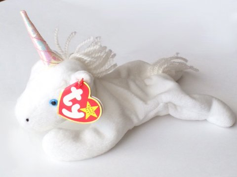 TY Beanie Baby - MYSTIC the Unicorn (irredescent horn & yarn mane)