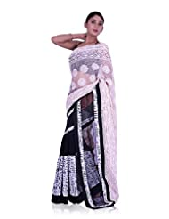 IndusDiva Georgette Black and White Half and Half Saree