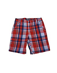 Snoby Boys shorts-red white and blue checks adjustable waist(SBYK1253)