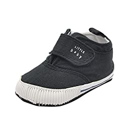 Weixinbuy Baby Boy\'s Canvas Soft Sole Velcro Sneaker High Shoe Black M
