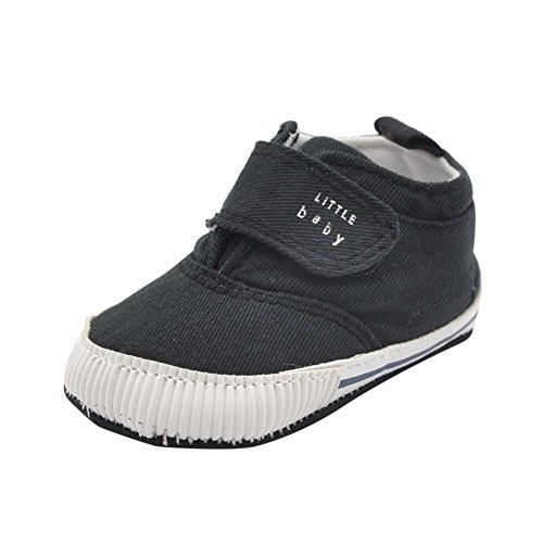 Weixinbuy Baby Boy's Canvas Soft Sole Velcro Sneaker High Shoe Black L (Baby Shoes For Boys compare prices)