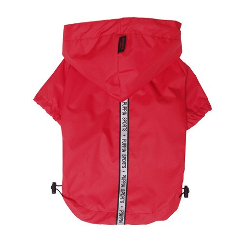 Puppia Authentic Base Jumper Raincoat, Large, Red