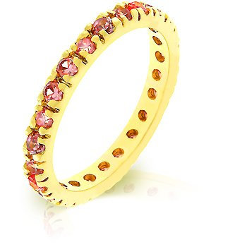 14k Gold Bonded Eternity Ring with Channel Set Pink CZ