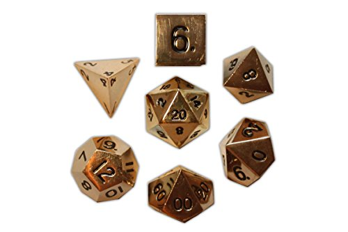 Set of 7 Dead Mans Gold Full Metal Polyhedral Dice by Norse Foundry | RPG Math Games DnD Pathfinder by Norse Foundry